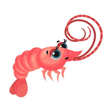 Cute Shrimp Cartoon Character with Big Eyes Vector Illustration. Cheerful Marine Smiling Creature for Kids Book