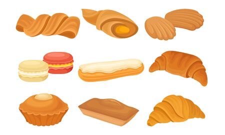 Flour Baked Buns and Rolls from Bakery or Pastry Shop Vector Set. Sweet Food with Jam and Creamy Filling Concept