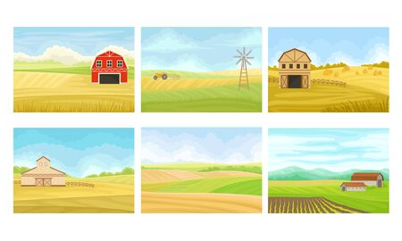 Agricultural Lands with Barn Houses and Cultivated Fields Vector Scenes Set