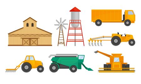Farming and Agricultural Stuff with Barn and Industrial Machinery for Harvesting Vector Set. Modern Agronomy and Rural Industry Concept