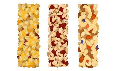 Raw Bars or Sweet Granola Bars with Dried Fruits and Nuts Vector Set. Healthy Energetic Organic Food and Snack Concept