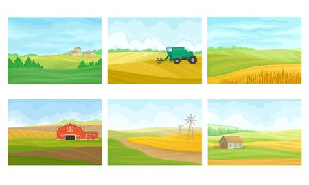 Agricultural Lands with Barn Houses and Cultivated Fields Vector Scenes Set. Farming and Rural Area Concept