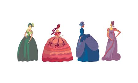 Women in Standing Pose Wearing Old-fashioned Dress Vector Set. Aristocratic Female Fashion of Past Victorian Time