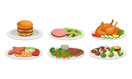 Meat Dishes and Courses Served on Plates with Shashlik and Hamburger Vector Set