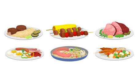 Meat Dishes and Courses Served on Plates with Shashlik and Spaghetti with Sausages Vector Set