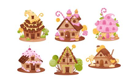 Sweet Gingerbread Houses with Creamy and Candy Toppings Vector Set. Sugar Treat with Fairy Lolly Decorations Concept