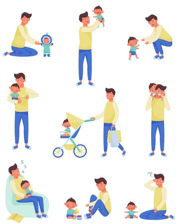 Father Character Nursing and Playing with Baby Vector Illustrations Set. Enjoying Fatherhood Concept Vettoriali