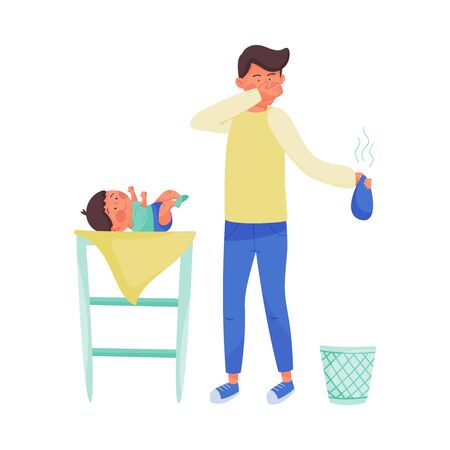 Young Father Character Nursing Baby Vector Illustration. Fatherhood Concept. Man Changing Nappies