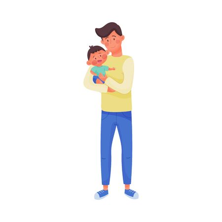 Young Man Holding Baby in Arms Vector Illustration. Dad Nursing His Kid Иллюстрация