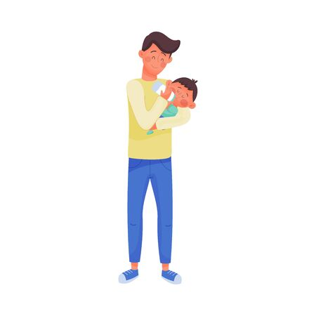 Father Character Nursing Baby Vector Illustration. Fatherhood Concept. Young Man Holding Kis in Arms and Bottle Feeding Him