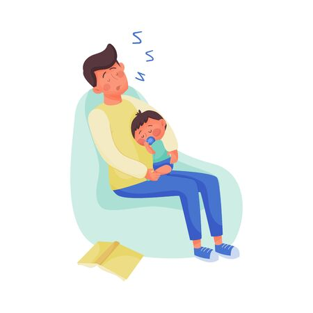 Young Dad Fallen Asleep While Reading Book to His Baby Vector Illustration Ilustração