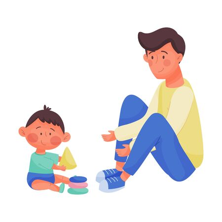Young Dad and His Baby Playing with Toy Blocks Vector Illustration. Father Nursing His Kid. Fatherhood Concept