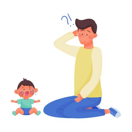 Young Dad Sitting and Wondering Why His Baby Crying Vector Illustration