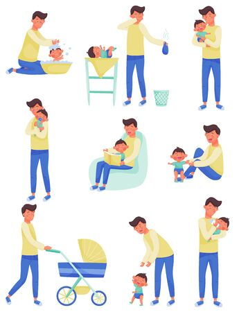 Father Character Nursing and Playing with Baby Vector Illustrations Set. Enjoying Fatherhood Concept