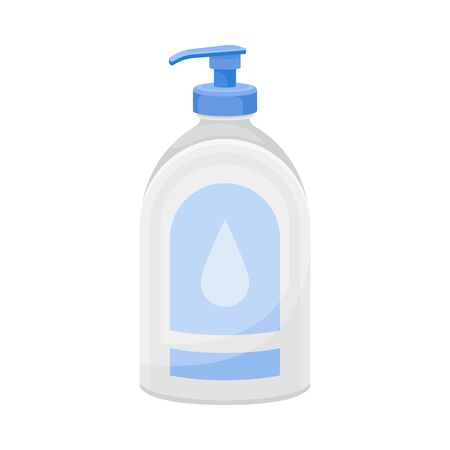 Liquid Soap or Foam in Dispenser Plastic Bottle Vector Illustration