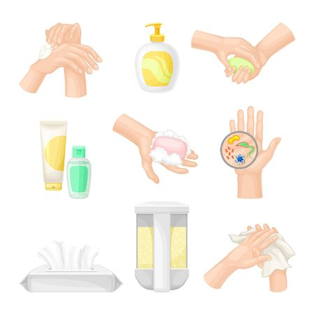 Hand Washing and Cleansing Using Soap and Antibacterial Wet Wipes Vector Illustrations Set Stock Illustratie