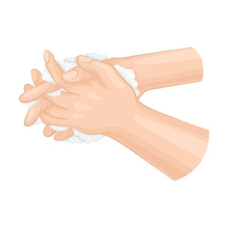 Hand Washing and Cleansing Using Soap Vector Illustration
