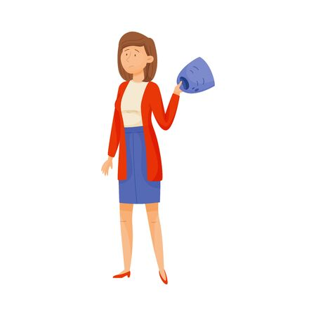 Young Puzzled Woman Standing and Holding Crying Mask in Her Hands Vector Illustration. Changing Natural Personality to Conform to Social Requirements Concept