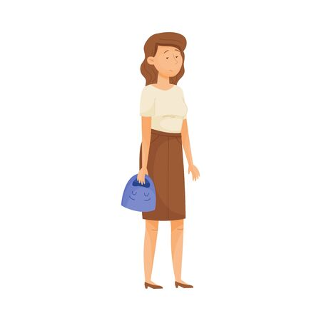 Young Woman with Sad Face Standing and Holding Happy Mask in Her Hands Vector Illustration. Changing Natural Personality to Conform to Social Requirements Concept