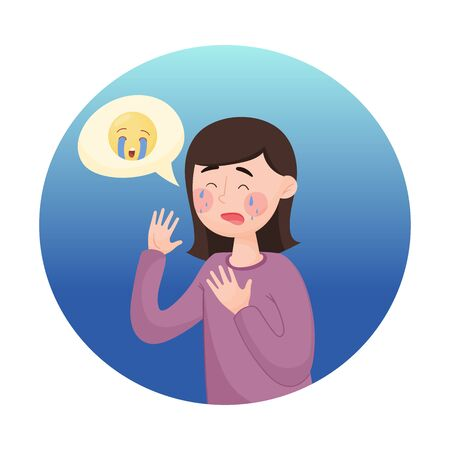 Young Girl Feeling Sorrow Isolated on White Background Vector Illustration. Crying Face Concept. Emoji Circle with Woman Character