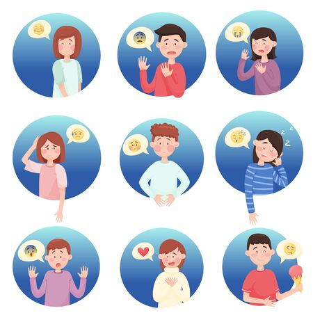 People Expressing Different Emotions Isolated on White Background Vector Illustrations Set Vecteurs