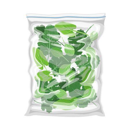 Frozen Greenery Stored in Plastic Package Vector Illustration Vettoriali
