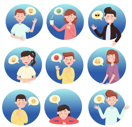 People Expressing Different Emotions Isolated on White Background Vector Illustrations Set