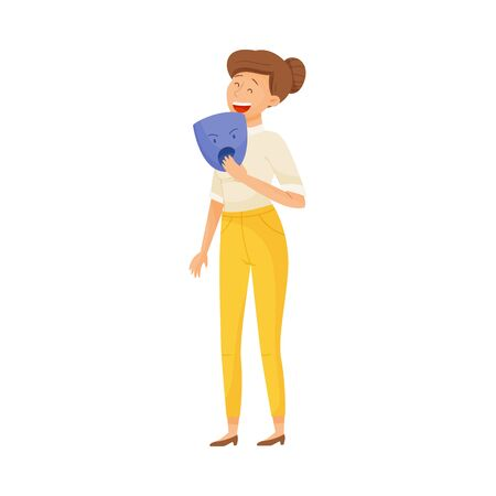 Young Laughing Woman Standing and Holding Furious Mask in Her Hands Vector Illustration