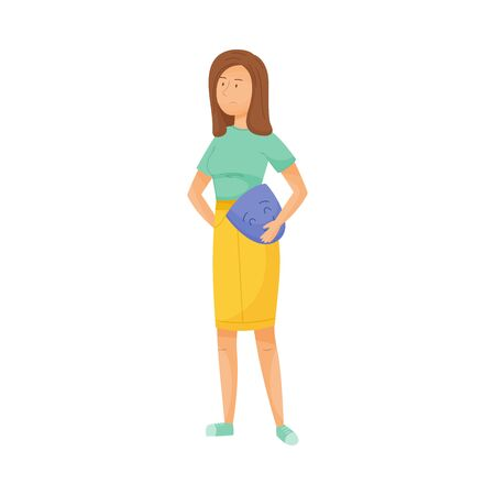 Young Sad Woman Standing and Holding Smiling Mask in Her Hands Vector Illustration