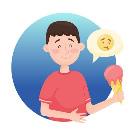 Young Boy Savoring Delicious Sweet Ice Cream Isolated on White Background Vector Illustration. Face Feeling Enjoyment Concept. Emoji Circle with Man Character