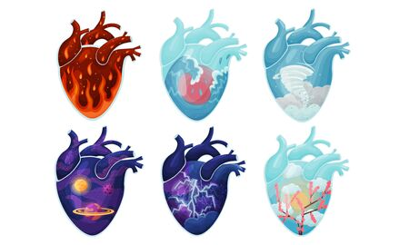 Human Hearts with Vessels and Scenes with Galaxy and Fire Inside Vector Set