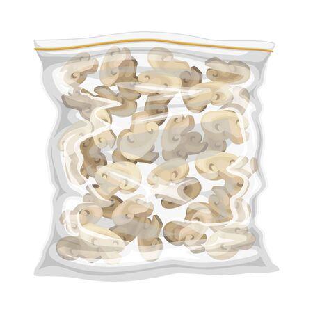 Frozen Chopped Mushrooms Stored in Plastic Package Vector Illustration Vecteurs