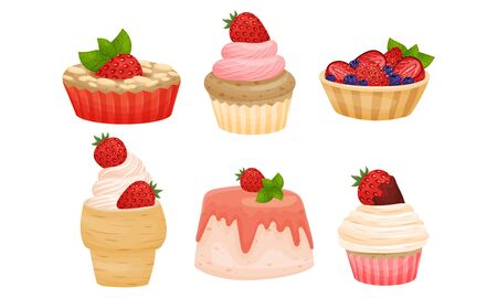 Delicious Cakes and Desserts with Berry and Whipped Cream Toppings Vector Set Vectores