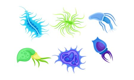 Bacteria and Germs of Different Shapes Isolated on White Background Vector Set