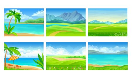 Beach and Mountain Scenes and Landscapes Vector Set Vecteurs