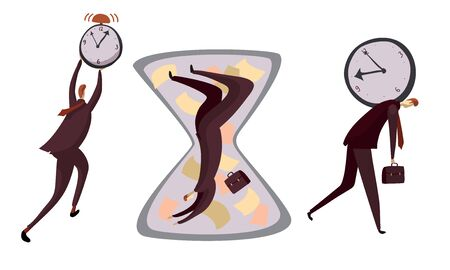 Man Carrying Clock at His Back and Falling Down in Hourglass as Running Time Symbol Vector Illustrations Set. Male at Work Having Time Limitations and Trying to Stop Clock Hands