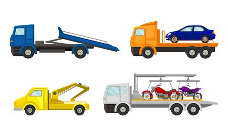 Tow Truck or Breakdown Truck Working Side View Vector Set. Specially Equipped Lorry for Towing Away Cars Concept