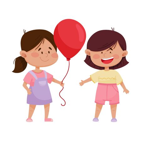 Red Cheeked Little Girl Sharing Balloon with Her Friend Vector Illustration