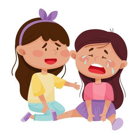 Freundliches kleines Mädchen, das ihren weinenden Freund-Vektor-Illustration tröstet Vektorgrafik