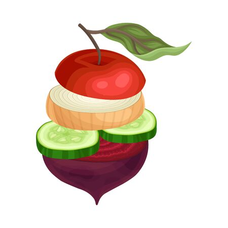 Cutting Vegetables and Fruits Arranged in Pile Isolated on White Background Vector Illustration 일러스트