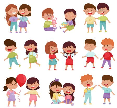 Friendly Little Kids Holding Hands and Cheering Up Each Other Vector Illustrations Set