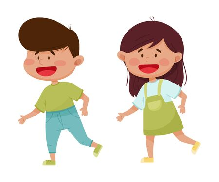 Friendly Little Kids Playing and Running Together Vector Illustration