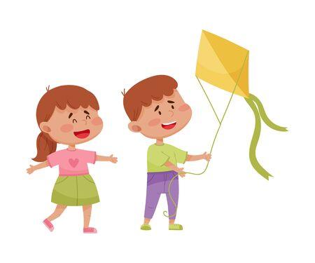 Sociable Kids Flying Kite Together and Having Fun Vector Illustration. Friendly Children Spending Time Together Concept