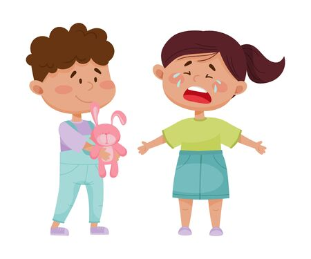 Friendly Little Boy Comforting His Crying Friend Vector Illustration. Sociable Children Spending Time Together Concept