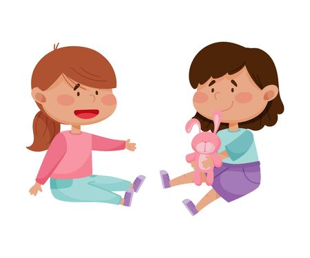 Red Cheeked Little Girl Sharing Toy Hare with Her Friend Vector Illustration