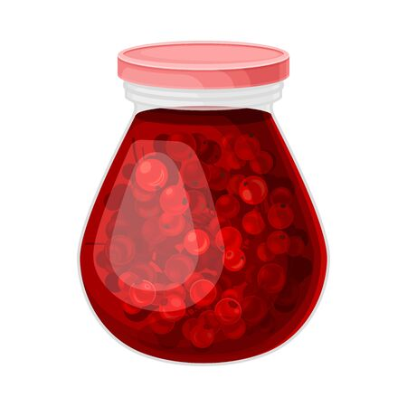 Canned Red Currant Jam or Jelly in Glass Jar Vector Illustration Çizim