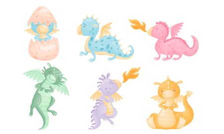 Cute Dragons with Small Wings and Horned Body Shooting Out Flames Vector Set