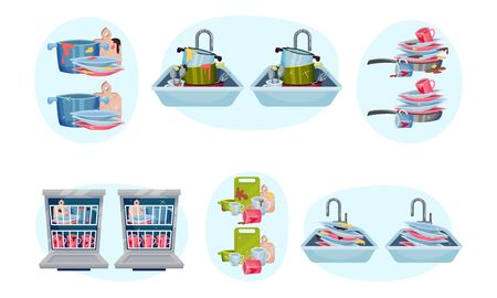 Clean and Dirty Dishes Piled in Kitchen Sink and Dishwashing Machine Vector Set Иллюстрация