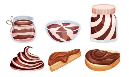 Chocolate Thick Paste in Bowl and Spreaded on Bread Vector Set