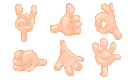 Cartoon Hands Gesturing Isolated on White Background Vector Set Vectores